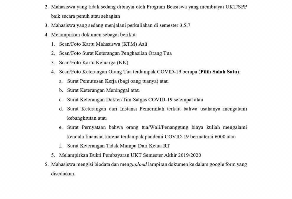 Bantuan UKT untuk MHS semester 3, 5,7 semester ganjil Tahun akademik 2020/2021